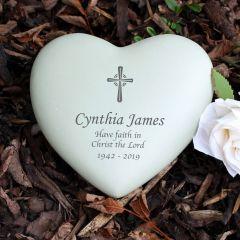 Personalised Cross Design Heart Memorial