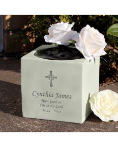 Personalised Cross Design Memorial Vase