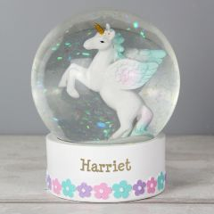 Personalised Unicorn Design Name Snow Globe