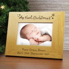 Personalised Oak Finish My First Christmas Photo Frame 6x4