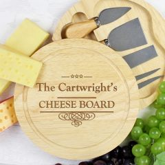 Personalised Decorative Swirl Design Large Cheese Board with Cheese Knives