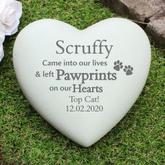 Personalised Pet Pawprints Heart Memorial