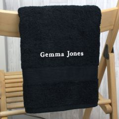 Personalised Black Embroidered Hand Towel