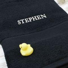 Personalised Black Bath Towel