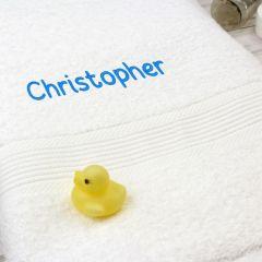 Personalised White Bath Towel - Blue