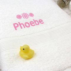 Personalised Pink Flowers White Bath Towel