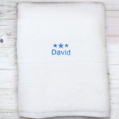 Personalised Blue Stars White Bath Towel