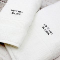 Personalised Mr & Mrs White Hand and Bath Towel Set
