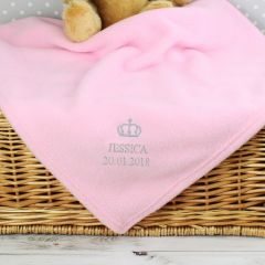 Personalised Pink Crown Baby Fleece Blanket