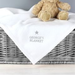 Personalised Silver Star Design White Baby Blanket