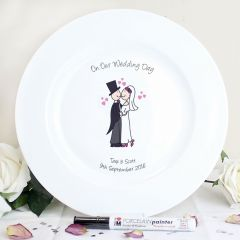 Personalised Cartoon Design Couple Message Plate
