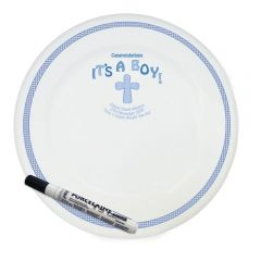 Personalised Cross Design It's a Boy Message Plate