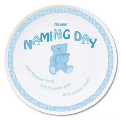 Personalised Blue Teddy Design Naming Day Plate