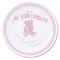 Personalised Pink Teddy Design 1st Birthday Plate