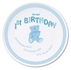 Personalised Blue Teddy Design 1st Birthday Plate