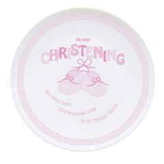 Personalised Baby Bootee Pink Christening Plate