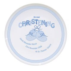 Personalised Baby Bootee Blue Christening Plate