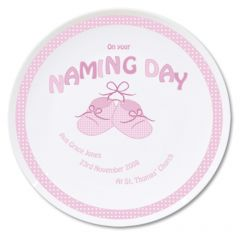 Personalised Baby Bootee Pink Naming Day Plate