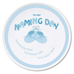Personalised Baby Bootee Blue Naming Day Plate