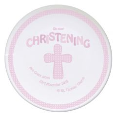 Personalised Cross Design Pink Christening Plate
