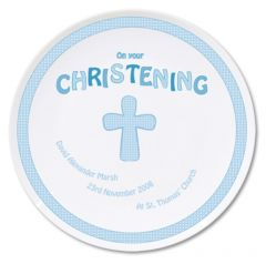 Personalised Cross Design Blue Christening Plate