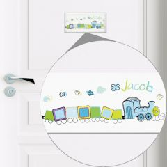 Personalised Patchwork Train Design Door Tile