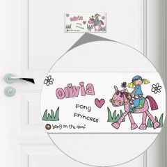Personalised Bang on the Door Pony Girl Door Tile
