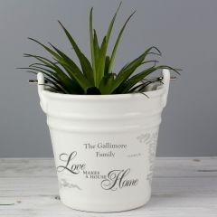 Personalised Love Makes A House Home Porcelain Bucket