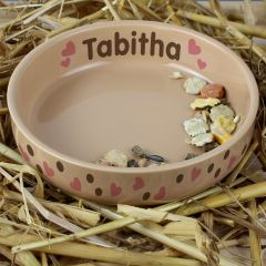 Personalised Dotty Heart Design Small Brown Pet Bowl