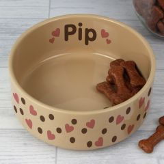 Personalised Dotty Heart Design Large Brown Pet Bowl