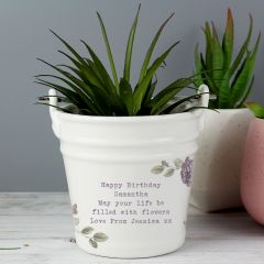 Personalised Secret Garden Porcelain Bucket - Any Message