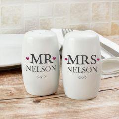 Personalised Mr & Mrs Salt And Pepper Set