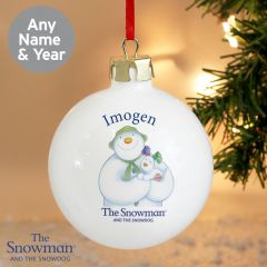 Personalised The Snowman and Snowdog Design Bauble