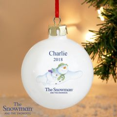 Personalised The Snowman and Snowdog Design Flying Bauble