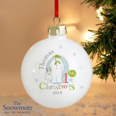 Personalised The Snowman and Snowdog Design My 1st Christmas Bauble