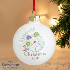 Personalised The Snowman and Snowdog Design My 1st Christmas Blue Bauble