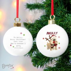 Personalised Boofle Bear Christmas Reindeer Bauble