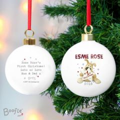 Personalised Boofle Bear My 1st Christmas Bauble