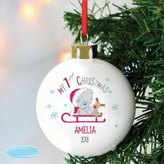 Personalised Tiny Tatty Teddy Bear My 1st Christmas Sleigh Bauble