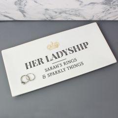 Personalised Her Ladyship Bone China Trinket Tray
