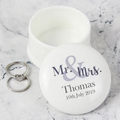 Personalised Mr & Mrs Ceramic Trinket & Ring Box