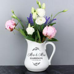 Personalised Classic Design Wedding Ceramic Flower Jug