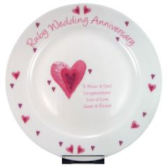 Personalised Ruby Anniversary Plate