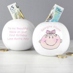 Personalised Baby Girl Design Money Box