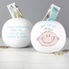 Personalised Baby Boy Design Money Box