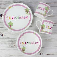 Personalised Animal Name Breakfast Set Pink
