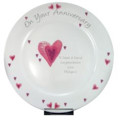 Personalised Hearts Anniversary Plate