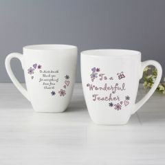 Personalised Flowers & Butterflies Wonderful Teacher Latte Mug