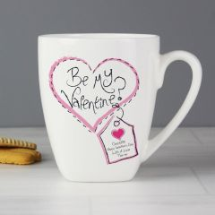 Personalised Stitch Heart Be My Valentine Design Latte Mug