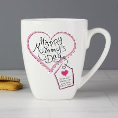 Personalised Heart Stitch Design Happy Mummys Day Latte Mug